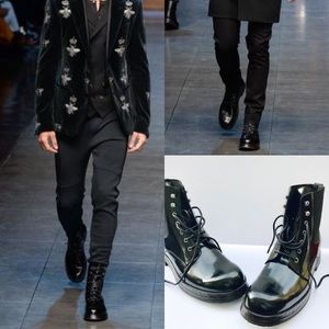 Dolce & Gabbana Runway Black Patent Combat Boots